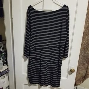 LOFT Dresses - Black and gray striped Loft Dress